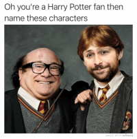 Harry Potter, Memes, and 🤖: Oh you're a Harry Potter fan then  name these characters  MADE WITH MOMUs Name this sequel