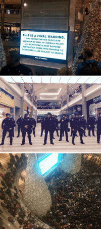 """America, Black Lives Matter, and Kkk: OHANGE  THIS IS A FINAL WARNING  THIS DEMONSTRATION IS IN CLEAR  VIOLATION OF MALL OF AMERICA POLICY  ALL PARTICIPANTS MUST DISPERSE  IMMEDIATELY. THOSE WHO CONTINUE TO  DEMONSTRATE ARE SUBJECT TO ARREST  MALL OF AMERICA   bare  2 <p><a href=""""http://rightsided.tumblr.com/post/105730816852"""" class=""""tumblr_blog"""">rightsided</a>:</p>  <blockquote><p><a class=""""tumblr_blog"""" href=""""http://ch-ch-ch-ch-ch-cha-czechitout.tumblr.com/post/105725716116/hellotailor-photos-from-the-blacklivesmatter"""">ch-ch-ch-ch-ch-cha-czechitout</a>:</p> <blockquote> <p><a class=""""tumblr_blog"""" href=""""http://hellotailor.tumblr.com/post/105716900435/photos-from-the-blacklivesmatter-protest"""">hellotailor</a>:</p> <blockquote> <p>Photos from the #BlackLivesMatter protest happening right now at the Mall of America. [<a href=""""https://twitter.com/JosephScrimshaw/status/546405792069341184/photo/1"""">x</a>] [<a href=""""https://twitter.com/laflaneuse/status/546403431687421952"""">x</a>] [<a href=""""https://twitter.com/MnarMuh/status/546401257242767360"""">x</a>]</p> </blockquote> <div class=""""post_tags""""> <div class=""""post_tags_inner""""><a class=""""post_tag"""" href=""""https://tumblr.com/tagged/freedom"""">#freedom</a><a class=""""post_tag"""" href=""""https://tumblr.com/tagged/some-terms-an-conditions-may-apply"""">#some terms an conditions may apply</a></div> </div> <p>Mall of America is private property, just as you don't have the right to stage a protest (no matter how peaceful) in someones house, you don't have the right to protest (again, no matter how peaceful) in someone's store.</p> <p>The right to free speech, and the right to assembly only apply to public property. Because in removing you from the premises, the owners of Mall of America are exercising <strong>their</strong> right to free speech in not having to listen to yours on <strong>their</strong> property.</p> <p>Is kicking people out scummy? I'd say, """"Yeah, it is.""""</p> <p>But it's their right to be scummy, the store owners would be having their """