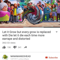 Check this out: OHARE  Let it Grow but every grow is replaced  with Die let it die each time more  earrape and distorted  265,122 views  15K  4 341  Mr Mr MANGO HEAD  Subscribe  147 011 subscribers Check this out