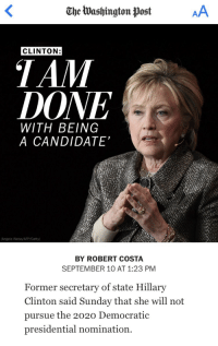 "Chill, Gif, and God: Ohe Washington Post  CLINTON:  DONE  WITH BEING  A CANDIDATE""  (Angela Weiss/AFP/Getty)  BY ROBERT COSTA  SEPTEMBER 10 AT 1:23 PM  Former secretary of state Hillary  Clinton said Sunday that she will not  pursue the 2020 Democratic  presidential nomination. <p><a href=""http://markhamillz.tumblr.com/post/165193175756/sometimes-god-truly-blesses-us"" class=""tumblr_blog"">markhamillz</a>:</p>  <blockquote><p>Sometimes God truly blesses us</p></blockquote>  <figure class=""tmblr-full"" data-orig-width=""495"" data-orig-height=""259"" data-tumblr-attribution=""maria-chill-out:ev77ruitCVwZ37Zqh1cM7g:ZJ7K7x1Y_oDVQ"" data-orig-src=""https://78.media.tumblr.com/c4d47c5740444dac3136a0b1a93190cd/tumblr_nh7z93GDSW1r0j2aqo1_500.gif""><img src=""https://78.media.tumblr.com/c4d47c5740444dac3136a0b1a93190cd/tumblr_inline_ow33a2NEjK1rw09tq_540.gif"" data-orig-width=""495"" data-orig-height=""259"" data-orig-src=""https://78.media.tumblr.com/c4d47c5740444dac3136a0b1a93190cd/tumblr_nh7z93GDSW1r0j2aqo1_500.gif""/></figure>"