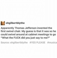 Fantastic Ohgilbertblythe Apparently Thomas Jefferson Invented The Gmtry Best Dining Table And Chair Ideas Images Gmtryco