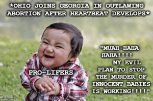 """Abortion, Georgia, and Ohio: OHIO JOINS GEORGIA IN OUTLAWING  ABORTION AFTER HEARTBEAT DEVELOPS  TMUAH-HABA  HAHA!!!!  MY EVIL  PLAN TO STOP  THE MURDER OF  INNOCENT BABIES  IS WORKING!!!!""""  PRO-LIFERS  mgiup.com So terrorist. Much evil."""