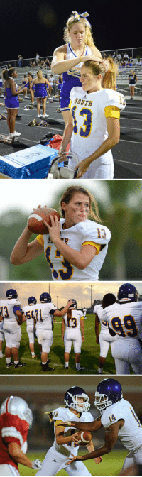 "ohtheandrogyny: magik-aimee:  ihateeveryonefrombektun:  missingkeys:  calystarose:   Girl is pioneer at quarterback for Florida High School  That first picture just fills me with such joy and a feeling of hope.  HEY ERIN HEY! It's the last picture that gets me. Her eyes are off reading the defense, because she's not handing off to the RB, that's a fake. She's the QB and she'd doing her goddamn job and she's doing it well. GET IT GIRL.  ""Everybody says, 'What happens when she gets hit?' "" Gatewood said. ""This isn't a knock on Erin, but she's bigger than 10 kids on my team. I have a wide receiver that weighs 25 pounds less than her. And the pads she wears are the same as the pads he wears.""   theres a post going around ""imagine a high school romance movie about a girl who works her ass off to play on the football team and eventually becomes the quarterback and she dates one of the cheerleaders"" well thats this girls life basically. the cheerleader in the top picture is her girlfriend.  this makes me so happy, it's ridiculous   Every time I read this I get real happy. : ohtheandrogyny: magik-aimee:  ihateeveryonefrombektun:  missingkeys:  calystarose:   Girl is pioneer at quarterback for Florida High School  That first picture just fills me with such joy and a feeling of hope.  HEY ERIN HEY! It's the last picture that gets me. Her eyes are off reading the defense, because she's not handing off to the RB, that's a fake. She's the QB and she'd doing her goddamn job and she's doing it well. GET IT GIRL.  ""Everybody says, 'What happens when she gets hit?' "" Gatewood said. ""This isn't a knock on Erin, but she's bigger than 10 kids on my team. I have a wide receiver that weighs 25 pounds less than her. And the pads she wears are the same as the pads he wears.""   theres a post going around ""imagine a high school romance movie about a girl who works her ass off to play on the football team and eventually becomes the quarterback and she dates one of the cheerleaders"" well thats this girls life basically. the cheerleader in the top picture is her girlfriend.  this makes me so happy, it's ridiculous   Every time I read this I get real happy."