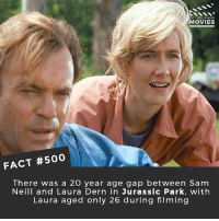 Facts, Jurassic Park, and Memes: OID YOU KNOW  MOVIES  FACT #500  There was a 20 year age gap between Sam  Neill and Laura Dern in Jurassic Park, with  Laura aged only 26 during filming And that's 500! What movies should make the next 500 facts? 🎥 • • • • Double Tap and Tag someone who needs to know this 👇 All credit to the respective film and producers. movie movies film tv camera cinema fact didyouknow moviefacts cinematography screenplay director actor actress act acting movienight cinemas watchingmovies hollywood bollywood didyouknowmovies