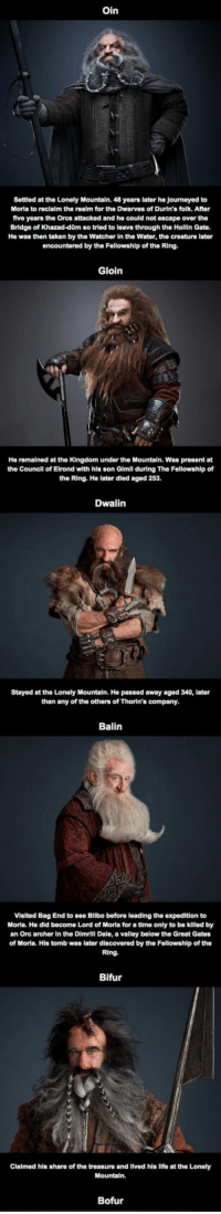 <p>What Happened To The Other Dwarves After The Hobbit.</p>: Oin  Settlod at the Lonely Mountain. 48 years later he journeyed to  Moria to reclaim the realm for the Dwarves of Durin's folk. After  five years the Orcs attacked and he could not escape over the  Bridge of Khazad-dQm so tried to leave through the Hollin Gate.  He was then taken by the Watcher In the Water, the creature later  encountered by the Fellowshlp of the Ring.  Gloin  He remained at the Kingdom under the Mountain. Was present at  the Councll of Elrond with his son Gimll during The Fellowship of  the Ring. He later died aged 253.  Dwalin  Stayed at the Lonely Mountain. He passed away aged 340, later  than any of the others of Thorin's company.  Balin  Visited Bag End to see Bilbo before leading the expedition to  Moria. He did become Lord of Moria for a time only to be killed by  an Orc archer In the Dimrill Dale, a valley below the Great Gates  of Moria. His tomb was later discovered by the Fellowship of the  Ring.  Bifur  Clalmed hls share of the treasure and lived his llfe at the Lonely  Bofur <p>What Happened To The Other Dwarves After The Hobbit.</p>