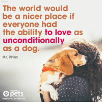 mercola: OIStock com  The world would  be a nicer place if  everyone had  the ability fo love as  unconditionally  as a dog  M.K. Clintorn  pets  Healthy  With Dr. Karen Becker  HealthyPets.Mercola.com