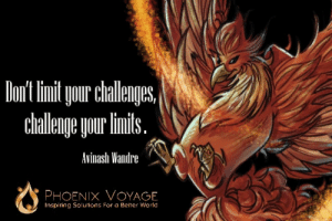 Phoenix, World, and Voyage: oiur challengs  chleage our linil.  Avinash Wandre  PHOENIX VOYAGE  Inspiring Solutions For a Better World