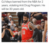 OJ Mayo has been banned from the NBA for 2 years due to violating the Anti Drug Program 👀: OJ Mayo banned from the NBA for 2  years, violating Anti Drug Program. He  will be 30 years old OJ Mayo has been banned from the NBA for 2 years due to violating the Anti Drug Program 👀
