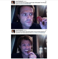 I Bet, Memes, and Twitter: Ojarpad  22s  Do you ever feel like a strange, mutant eight-sided grape? I bet this guy  does!! pic.twitter.com/Pr64EU70P6  Jared Padalecki jarpad  Octo-pumpkin-grape is goin down! Wish me luck, and lets hope for no  SpiderMan-like metamorphosis effects! pic.twitter.com/PcBCrNFjeA  2m He is too pure (Check link in bio!) supernaturalsaturday ghosts demons angels ghouls monsters notnatural hunters carryonmywaywardson supernatural supernaturaltumblr supernaturalfamily supernaturalfans jaredpadalecki samwinchester