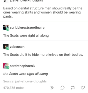 Bodies , Shower, and Shower Thoughts: ojust-shower-thougnts  Based on genital structure men should really be the  ones wearing skirts and women should be wearing  pants.  scribblerextraordinaire  The Scots were right all along  zebcuson  The Scots did it to hide more knives on their bodies.  sarahthephoenix  the Scots were right all along  Source: just-shower-thoughts  470,375 notes Scottish Infinite Wisdom
