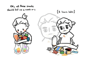 Accurate: Ok, all these snacks  should last me a week or 2  [2 hours later Accurate
