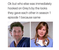 Memes, 🤖, and Greys: Ok but who else was immediately  hooked on Grey's by the looks  they gave each other in season1  episode 1 because same ya pretty much https://t.co/RoT6GCu9QE