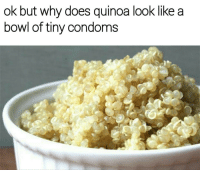 Memes, Quinoa, and 🤖: ok but why does quinoa look like a  bowl of tiny condoms Tag that lil ass wewe | follow @lei.ying.lo for more. @lei.ying.lo @lei.ying.lo @lei.ying.lo