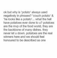 Funny, Mvp, and Potatoes: ok but why is 'potato' always used  negatively in phrases? 'couch potato' &  The looks like a potato  what the hell  have potatoes ever done to u? potatoes  are the mvp of the food world  they are  the backbone of many dishes. they  never let u down. potatoes are the real  winners here and we should feel  honoured to be described as one
