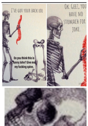 Doot Doot: OK. GEEZ, YOU  I'VE GOT YOUR BACK LOL  HAVE NO  STOMACH FOR  JOKE.  Do you think this is  funny John? Give me  my fucking spine.  U/ALOS Doot Doot