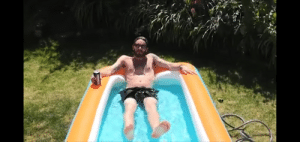 """Ok guys hear me out, I know this video is old but if you look closely you can clearly see his """"legs"""" are floating his legs must be inflatable like the pool and he's using those to cover up his true self while on camera.: Ok guys hear me out, I know this video is old but if you look closely you can clearly see his """"legs"""" are floating his legs must be inflatable like the pool and he's using those to cover up his true self while on camera."""