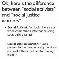 "Memes, Justice, and Warriors: Ok, here's the difference  between ""social activists""  and ""social justice  Warriors  Social Activist: ""oh look, there's no  wheelchair ramps into that building.  Let's build a ramp!""  Social Justice Warrior: Let's  persecute the people using the stairs  and make them feel bad for having  legs!!!"" No, no, think of it!  Baka To Basics"