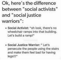 "social justice: Ok, here's the difference  between ""social activists""  and ""social justice  warriors"":  . Social Activist: ""oh look, there's no  wheelchair ramps into that building.  Let's build a ramp!""  e Social Justice Warrior: Let's  persecute the people using the stairs  and make them feel bad for having  legs!!"""