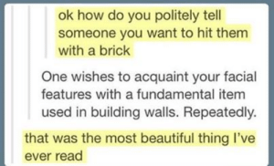 Beautiful, Tumblr, and How: ok how do you politely tell  someone you want to hit them  with a brick  One wishes to acquaint your facial  features with a fundamental item  used in building walls. Repeatedly.  that was the most beautiful thing I've  ever read Thanks, I'm using this