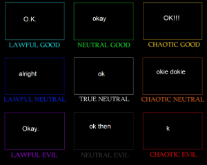 okie: OK!!!  okay  Ο.Κ.  CHAOTIC GOOLD  LAWFUL GOOD  NEUTRAL GOOD  okie dokie  alright  ok  TRUE NEUTRAL  LAWFUL NEUTRAL  CHAOTIC NEUTRAL  ok then  Okay.  CHAOTIC EVIL  LAWFUL EVIL  NEUTRAL EVIL
