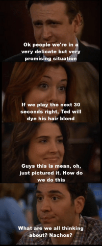 Memes, Ted, and Hair: Ok people we're in  very delicate but very  promising situation  If we play the next 30  seconds right, Ted will  dye his hair blond  Guys this is mean, oh,  just pictured it. How do  we do this  What are we all thinking  about? Nachos? One of the greatest scenes ever. #HIMYM https://t.co/qF6OB1Uhi3