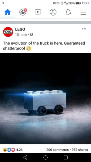 Meirl: OK/s 90 %  D 11:21  3  LEGO  LEGO  18 mins  The evolution of the truck is here. Guaranteed  shatterproof  4.2k  206 comments  987 shares Meirl