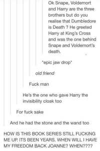 ~Dobby: Ok Snape, Voldemort  and Harry are the three  brothers but do you  realise that Dumbledore  is Death He greeted  Harry at King's Cross  and was the one behind  Snape and Voldemort's  death  'epic jaw drop  old friend  Fuck man  He's the one who gave Harry the  invisibility cloak too  For fuck sake  And he had the stone and the wand too  HOW IS THIS BOOK SERIES STILL FUCKING  ME UP ITS BEEN YEARS. WHEN WILLIHAVE  MY FREEDOM BACK JOANNE? WHEN ~Dobby
