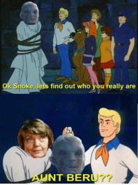 """Jedi, Memes, and Star Wars: Ok Snoke, lets find out who you really are  AUNT BERU? The most believable Snoke theory yet 😱  Posted by Daniel Westphal in """"Just Jedi Memes"""""""