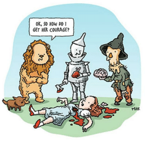 Wizard of Oz Memes: OK, So HOw DO  GET HER COURAGE?  Miks Wizard of Oz Memes