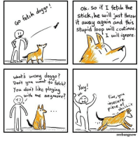 Memes, Artist, and 🤖: ok. So if I fetch the  stick,he wll just trom  it away again and this  Stupid loop uuill continue  I will iqnore.  dog  wrona doggo?  uwhots  Dort you wan to fetch?  You dont like ployin  ay  wth me anumore  Fne,you  nsecu  P*eueh  か)ノ  re.  seebangnow (artist: @xibang) anyway goodnight y'all :))