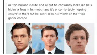 s cute: ok tom holland is cute and all but he constantly looks like he's  hiding a frog in his mouth and it's uncomfortably hopping  around in there but he can't open his mouth or the frogs  gonna escape