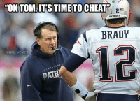 "14-0: ""OK TOM, ITS TIME TO CHEATP  1 2  PATRIOTS  BRADY  NFL MEMES  T A BLI s HE A  Reebok 14-0"