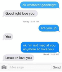 Girl Memes, Goodnight, and Im Not Mad: ok whatever goodnight  Goodnight love you  Today 12:41 AM  are you up  Yea  ok I'm not mad at you  anymore so love you  Read 12:48 AM  Lmao ok love you  o Message  Send Me in relationships...