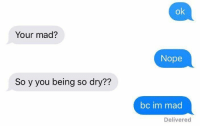 Dating, Nope, and Girl Memes: ok  Your mad?  Nope  So y you being so dry??  bc im mad  Delivered dating me is like https://t.co/XSaxrZob7b