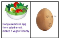 Emoji, Google, and Vegan: okay  Google removes egg  from salad emoji,  makes it vegan-friendly