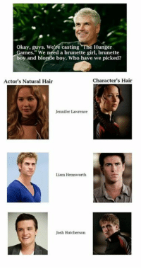 """Yeah, well that worked out perfectly, didn't it? 😅 ~Mockingjay's Bow: Okay, guys. We're casting The Hunger  Games."""" We need a brunette girl, brunette  boy and blonde boy. Who have we picked?  character's Hair  Actor's Natural Hair  Jennifer Lawrence  Liam Hemsworth  Josh Hutcherson Yeah, well that worked out perfectly, didn't it? 😅 ~Mockingjay's Bow"""