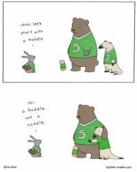 Happy Super Bowl Sunday!: okay, let's  start with  a huddle  no  a huddle.  not  cuddle.  liz climo  lizclimo. 1umblr.com Happy Super Bowl Sunday!