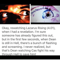 Memes, Okay, and Supernatural: Okay, rewatching Lazarus Rising (4.01),  when I had a revelation. I'm sure  someone has already figured this out  but in the first few seconds, when Dean  is still in Hell, there's a bunch of flashing  and screaming. I never realized, but  that's Dean watching Cas fight his way  through Hell to save him! 🔥👼🏻 castiel deanwinchester supernatural lazarusrising