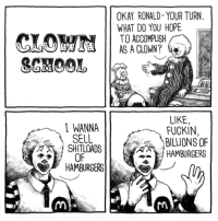 "Memes, School, and Http: OKAY RONALD- YOUR TURN  WHAT DO YOU HOPE  TO ACCOMPLISH  AS A CLOWN?  LIKE  FUCKIN,  BILLIONS OF  HAMBURGERS  I WANNA  OF  HAMBURGERS <p>Clown School via /r/memes <a href=""http://ift.tt/2HZMyYc"">http://ift.tt/2HZMyYc</a></p>"
