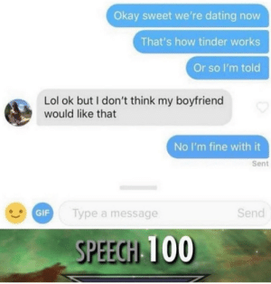 Speech 100: Okay sweet we're dating now  That's how tinder works  Or so I'm told  Lol ok but I don't think my boyfriend  would like that  No I'm fine with it  Sent  GIF  Send  Type a message  SPEECH 100 Speech 100