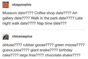 Fairly OddParents: okayysophia  Museum date???? Coffee shop date???? Art  gallery date???? Walk in the park date???? Late  night walk date???? Nap time date???  chicanaspice  obtuse???? rubber goose???? green moose????  guava juice???? giant snake???? birthday  cake???? large fires???? chocolate shake???? Fairly OddParents