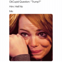 """Funny, Memes, and Date: OkCupid Question: """"Trump?""""  Him: Hell No  Me: @OkCupid makes finding a good date way too easy sp"""