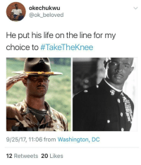 Blackpeopletwitter, Life, and History: okechukwu  @ok_beloved  He put his life on the line for my  choice to #TakeTheKnee  9/25/17, 11:06 from Washington, DC  12 Retweets 20 Likes <p>Know Your History. (via /r/BlackPeopleTwitter)</p>