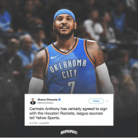 Will Melo ever win a ring? 🤔: OKLAHOM  CITY  Shams Charania  Follow  Carmelo Anthony has verbally agreed to sign  with the Houston Rockets, league sources  tell Yahoo Sports.  2:14 PM 7 Aug 2018  HOOPSUPDATE Will Melo ever win a ring? 🤔