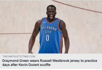 😂😂😂😂😂😂: OKLAHOM  CITY  THEUNATHLETICTAKE.COM  Draymond Green wears Russell Westbrook jersey to practice  days after Kevin Durant scuffle 😂😂😂😂😂😂