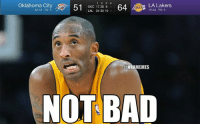 Kobe Bryant reacts to the Lakers double-digit LEAD on the Thunder!: Oklahoma City 51 OKC 17 28 10  64 LA Lakers  LAL 24 30 18-34 TO: 5  6  ONBAMEMES  NOT BAD Kobe Bryant reacts to the Lakers double-digit LEAD on the Thunder!
