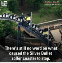 TERRIFYING MOMENT: More than a dozen theme park-goers were rescued after getting stuck on a roller coaster in Oklahoma.: Oklahoma City, OK  FOX  NEWS  Courtesy: KWTV/KOTV  There's still no word on what  caused the Silver Bullet  roller coaster to stop. TERRIFYING MOMENT: More than a dozen theme park-goers were rescued after getting stuck on a roller coaster in Oklahoma.