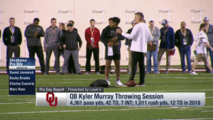 """He's got an A-plus so far!""  @TheKylerMurray is putting on a clinic at @OU_Football Pro Day. 🎯  📺: Path to the Draft: Pro Day on @nflnetwork https://t.co/VgKGVCM6a6: Oklahoma  Pro Da  VOICES OF:  Daniel Jeremiah  Bucky Brooks  Charley Casserly  Marc Ross  Pro Day Report Presented by Lowe's  Qi  QB Kyler Murray Throwing Session  4,361 pass yds, 42 TD, 7 INT: 1,011 rush yds, 12 TD in 2018 ""He's got an A-plus so far!""  @TheKylerMurray is putting on a clinic at @OU_Football Pro Day. 🎯  📺: Path to the Draft: Pro Day on @nflnetwork https://t.co/VgKGVCM6a6"
