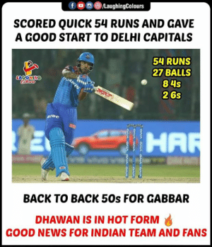 #ShikharDhawan #DCvRR #IPL #Gabbar: OLaughingColours  SCORED QUICK 54 RUNS AND GAVE  A GOOD START TO DELHI CAPITALS  54 RUNS  27 BALLS  84s  26s  LAUGHING  HA  BACK TO BACK 50s FOR GABBAR  DHAWAN IS IN HOT FORM  GOOD NEWS FOR INDIAN TEAM AND FANS #ShikharDhawan #DCvRR #IPL #Gabbar