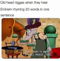 Eminem, Head, and Memes: Old head niggas when they hear  Eminem rhyming 20 words in one  sentence  @cloutsupplyy  NOW, THAT'S WHA  CALL MUSIC DOG Do NOT follow @dankhoodmemez if you aren't over the age of 18 💦🍑⚠️